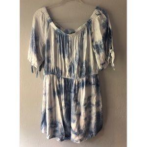 Comfy Blue & White Short, Off The Shoulder Dress.